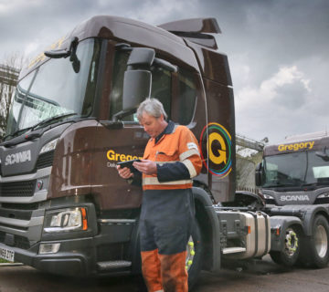 Gregory Distribution Fleet Engineer using Freeway Fleet Systems on a Mobile Device