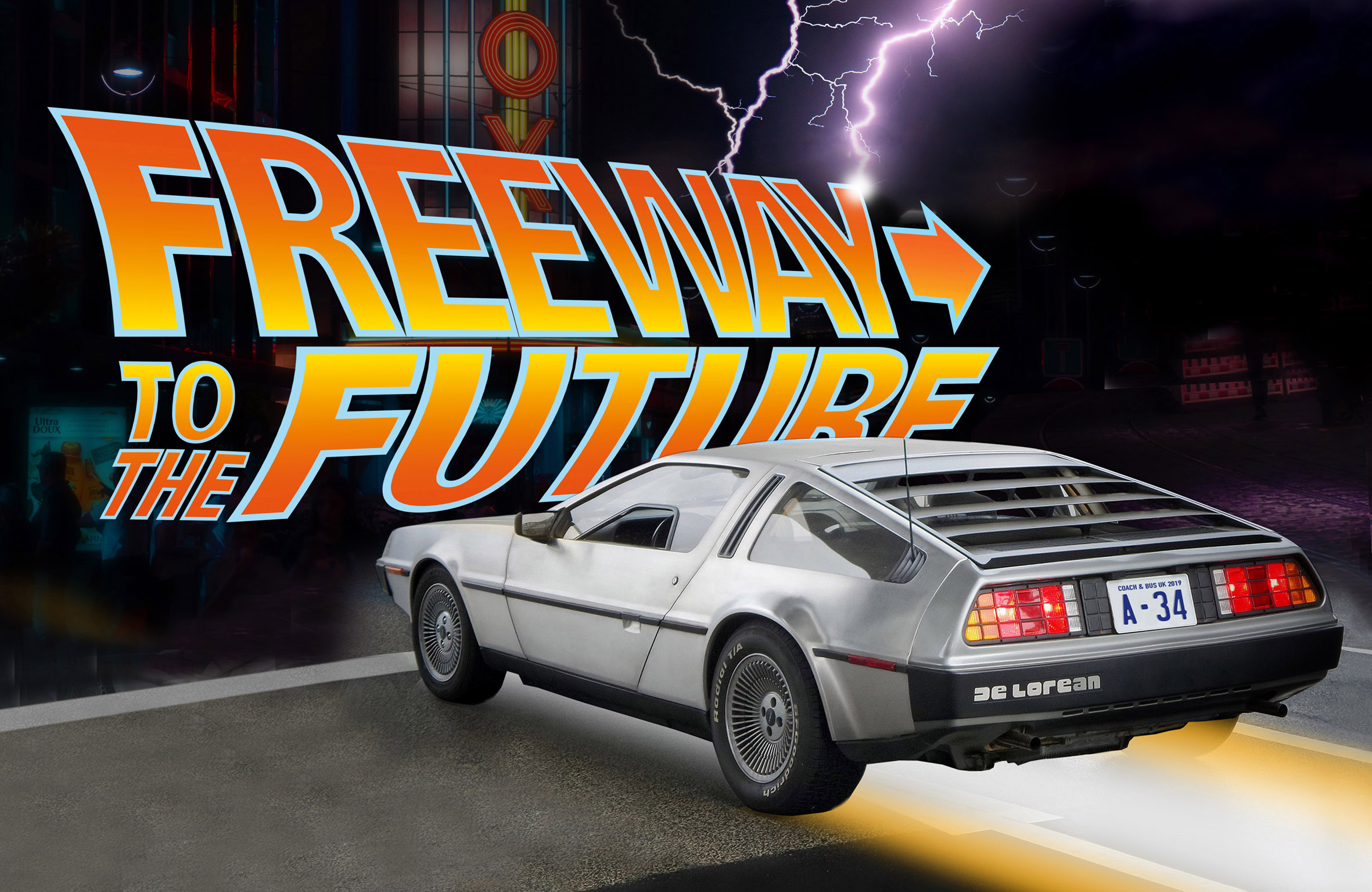 Coach & Bus UK 2019 Freeway are using a De Lorean sports car